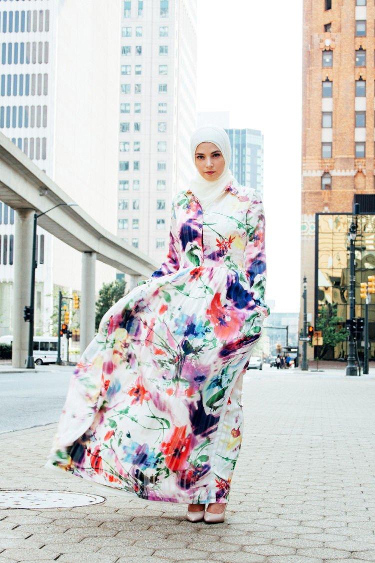 longdress motif bunga cocok buat yang berjilbab