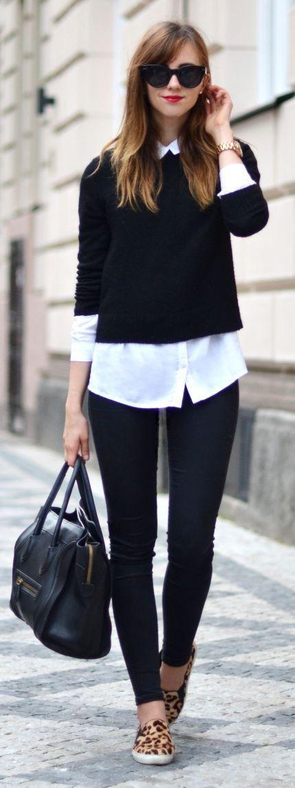 Sweater dan kemeja putih