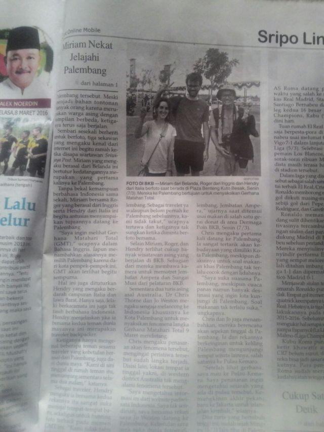 Masuk Koran Sriwijaya Post