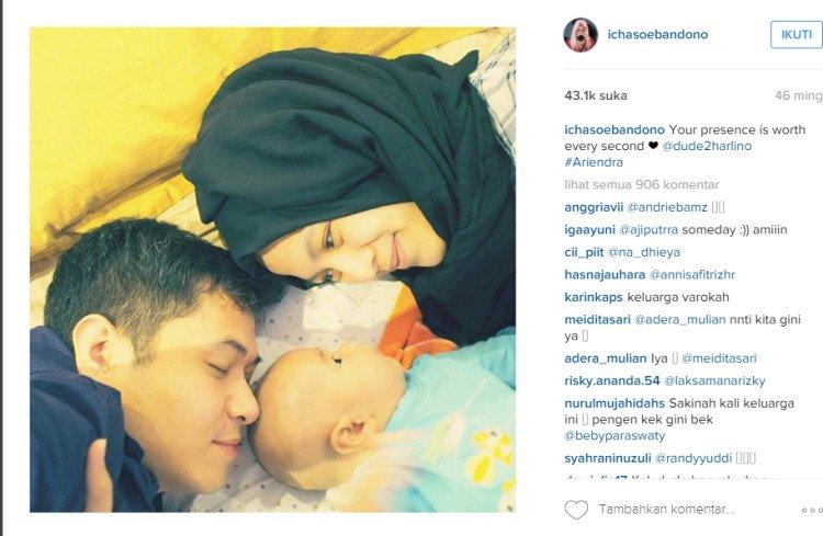 Kebersamaan Dude-Alyssa dengan putra mereka.