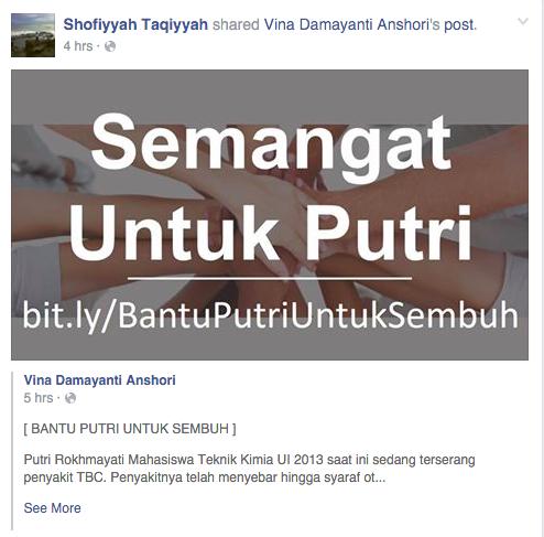 Hasil share salah satu teman Putri di facebook