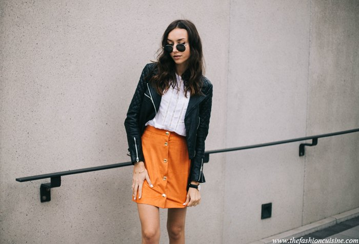 orange-button-through-suede-skirt-lace-blouse-leather-jacket-sporty-outfit-6