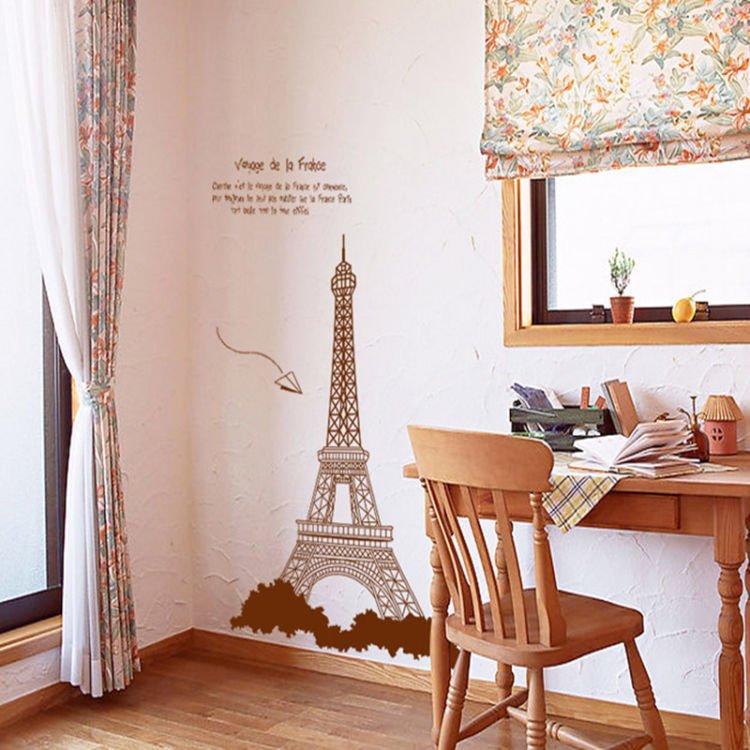 Stiker dinding bergambar Eiffel bisa membuatmu semakin bersemangat.