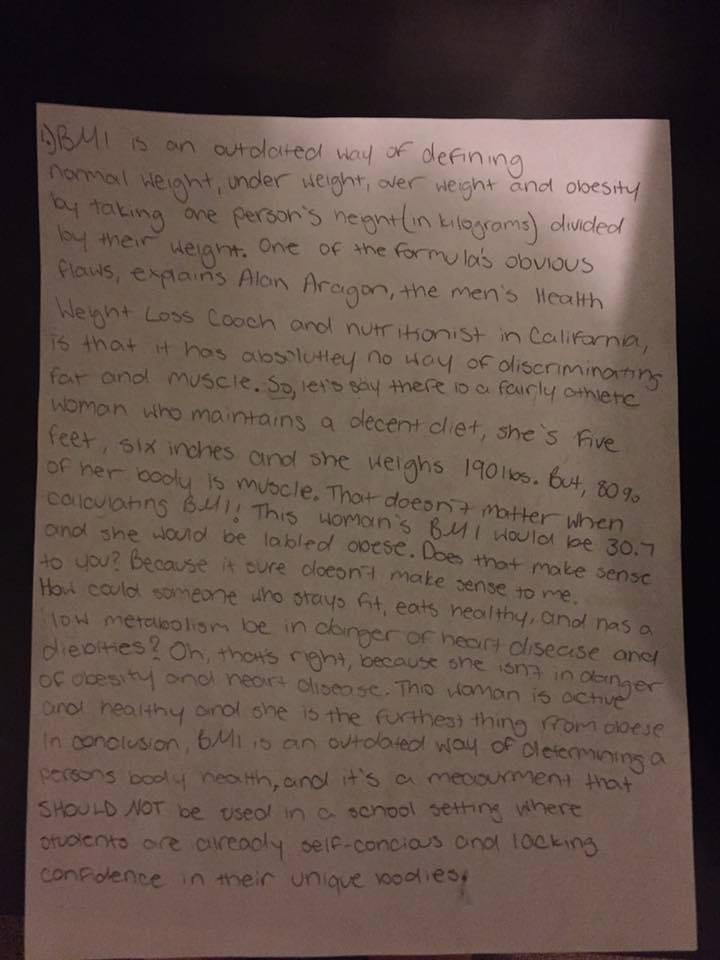 Surat Tessa, gadis cilik yang berani menjelaskan kalau BMI itu sudah usang