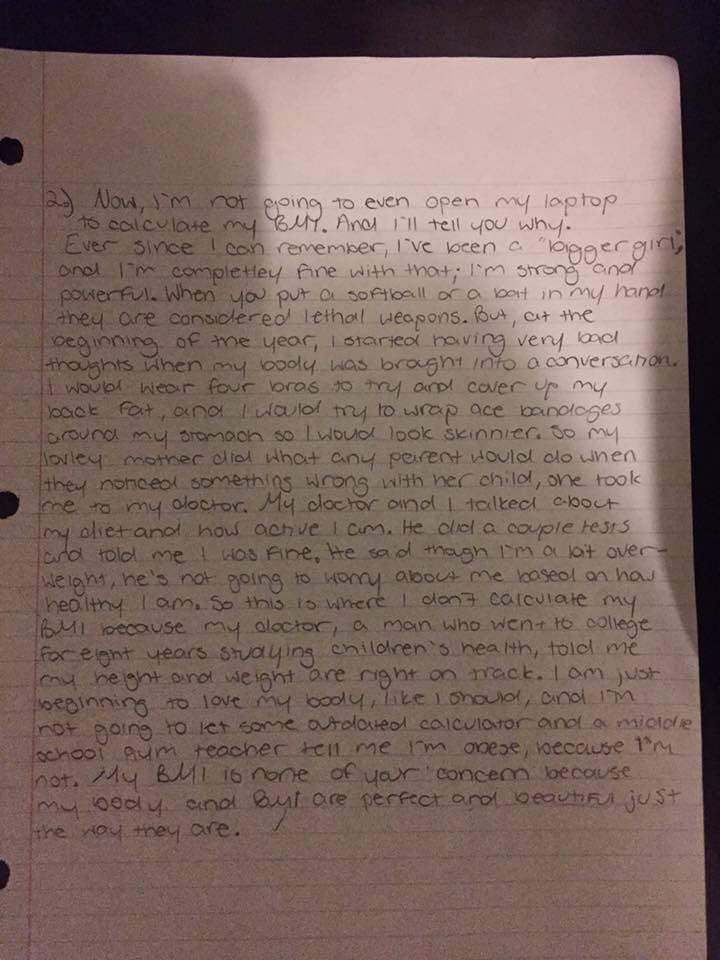 Surat Tessa, gadis cilik yang mencintai dirinya sendiri dan tak mau merusak cintanya hanya karena perhitungan BMI