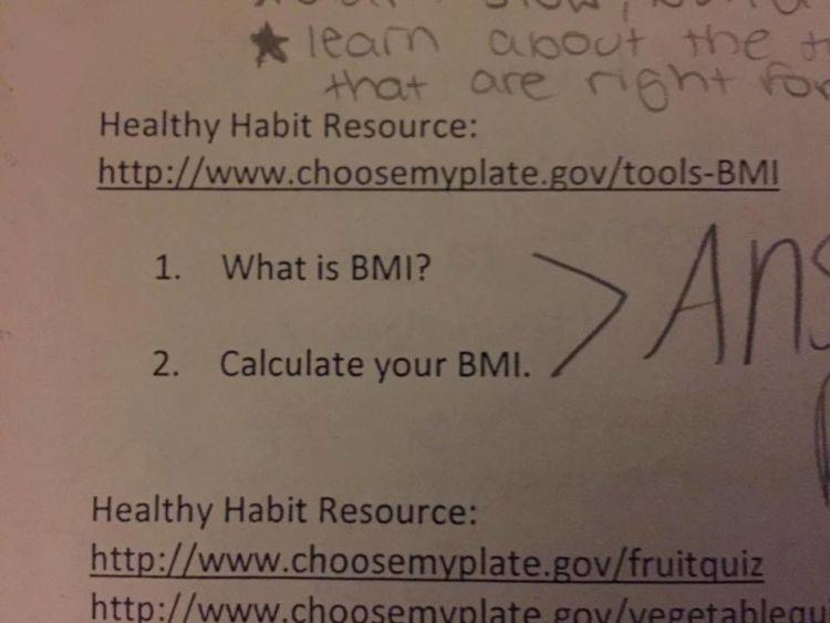 Soal kuis kesehatan dari guru Tessa tentang BMI