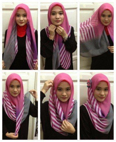 sesekali pakai hijab motif, tapi nutup dada
