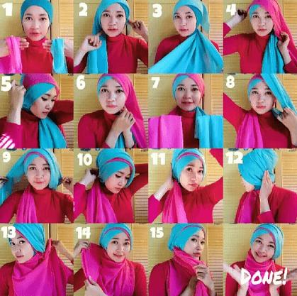 hijab paris berbeda warna