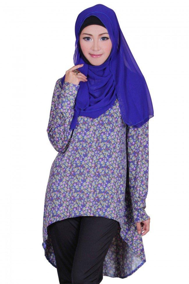 baju-atasan-muslim-murah-floral-print-tunic-legging-blue-black