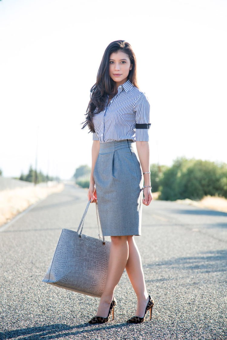 Gray-pencil-skirt-and-gray-striped-shirt-outfit