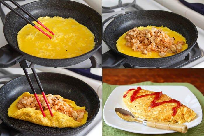 Omelet isi nasi yang Juga dari negeri sakura