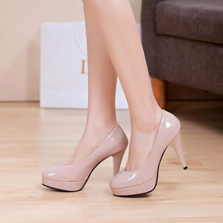 Solid-color-japanned-leather-platform-round-toe-high-heels-shallow-mouth-thin-heels-work-women-shoes