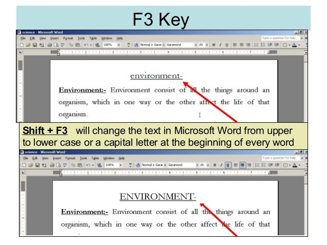 uppercase dengan Shift+F3