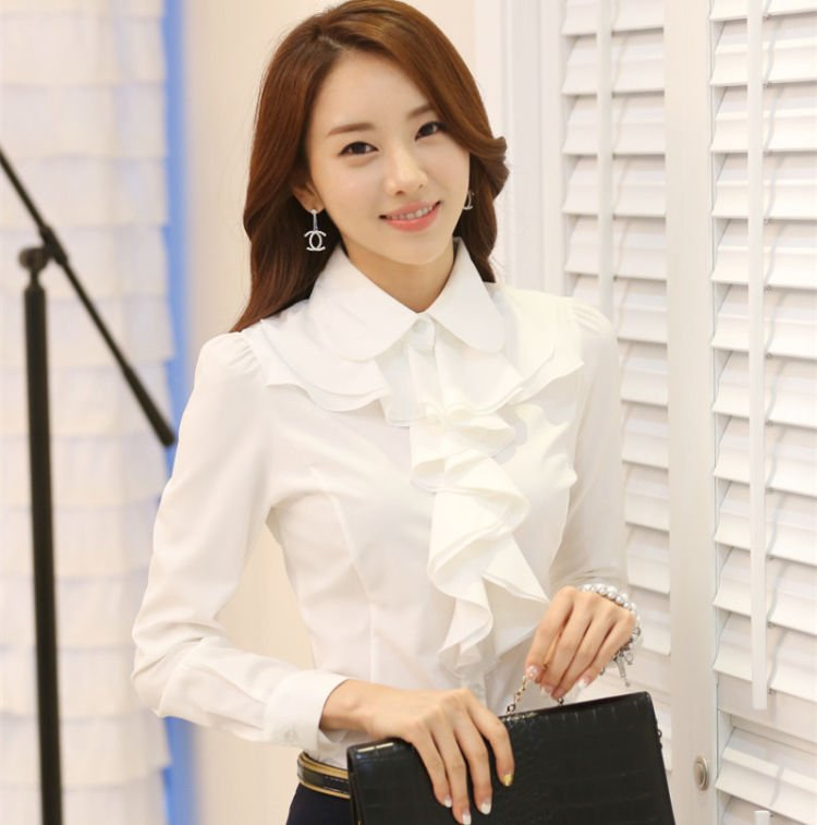 korean-style-women-shirts-OL-career-long-sleeve-white-blouse-flounced-chiffon-formal-blouses-ladies-blouses