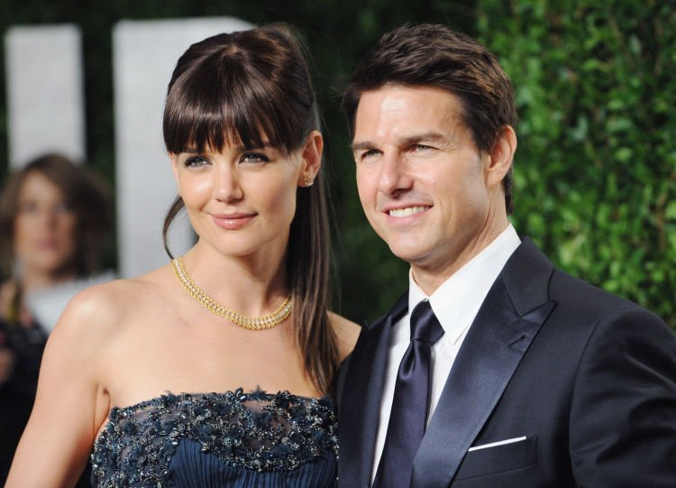 WEST HOLLYWOOD, CA - FEBRUARY 26: Actor Tom Cruise and wife actress Katie Holmes arrive at the 2012 Vanity Fair Oscar Party at Sunset Tower on February 26, 2012 in West Hollywood, California. (Photo by Jon Kopaloff/FilmMagic)