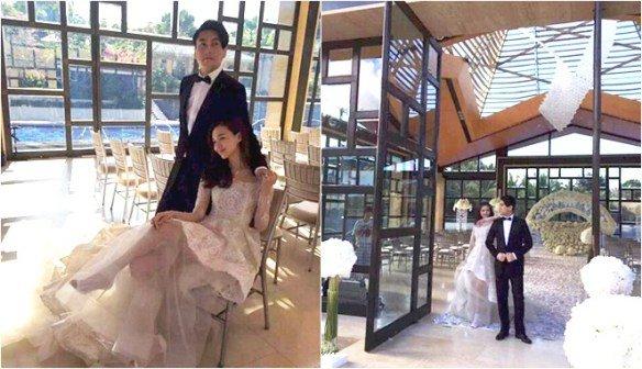 Suasana resepsi pernikahan Ken dan Vivian di Bali.
