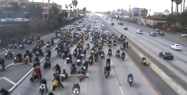 Biker in traffic