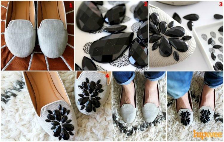 Sepatu dengan manik-manik cantik