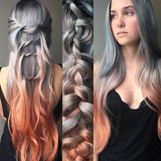 Silver and copper hair