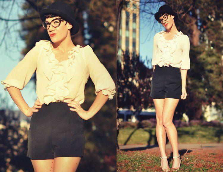 blouse + celana pendek kain