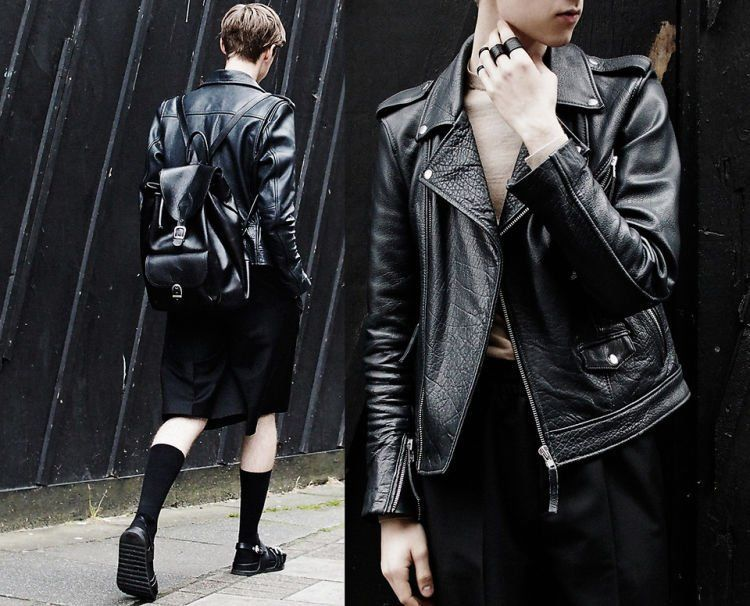 busana serba kulit untuk tampilan street style yang berkesan edgy.