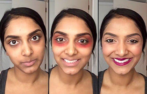 Vlogger Deepica Mutyala menggunakan lipstik sebagai concealer untuk menghilangkan lingkar hitam dibawah mata