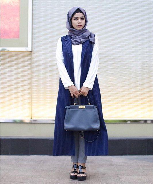 blouse, long vest strip, celana pensil
