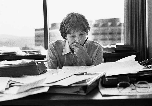 Bill Gates di kantor Bellevue-nya, tahun 1980