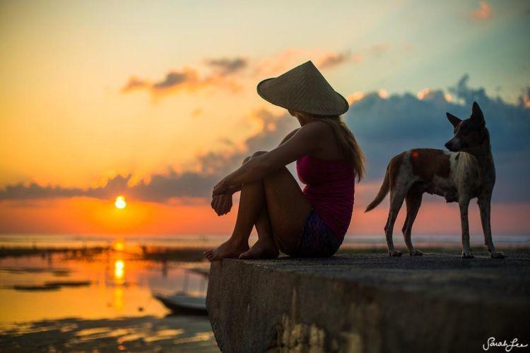 Teal menikmati senja di Bali