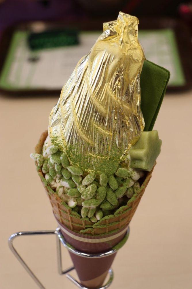 kinkaku soft ice cream with sheet of gold