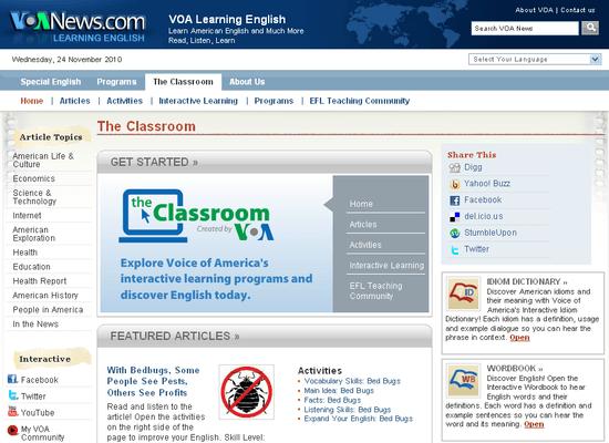 Tampilan situs VOA.