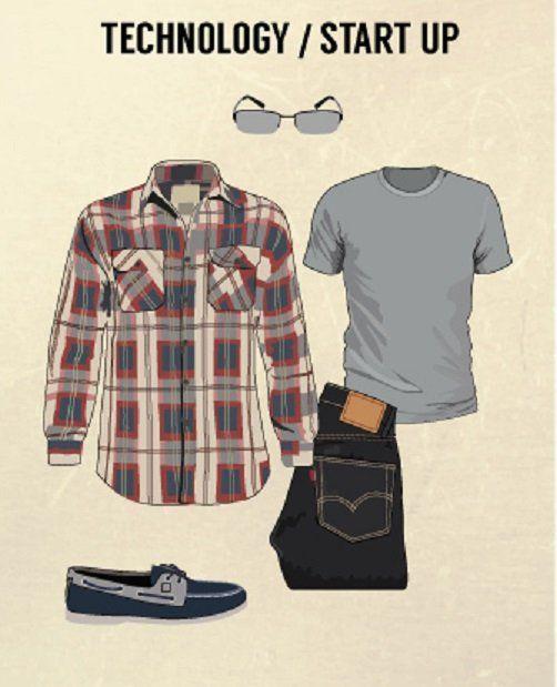 tipe pakaian untuk wawancara kerja startup: kaos, kemaja flanel, jeans gelap, dan sepatu loafers