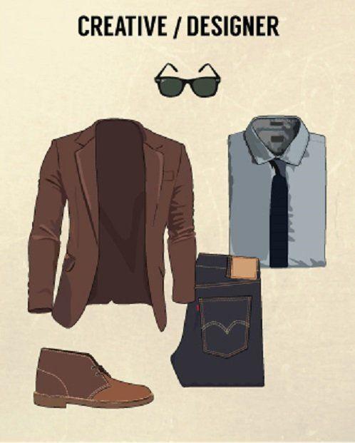 pakaian wawancara kerja bidang kreatif: blazer kemeja ngepas, dasi, blazer kasual yang sewarna dengan sepatu, dan celana jeans slim