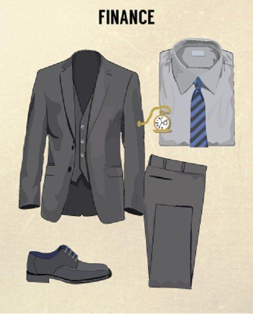 bidang finansial dan bisnis: jas dan celana kain abu-abu yang cukup tradisional