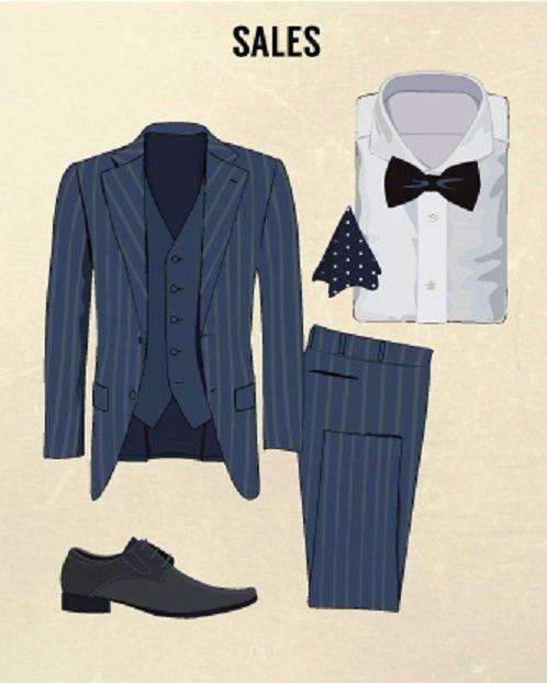 jas dan celana bahan warna biru terlihat fun, tapi nggak usah pakai dasi kupu-kupu juga bro, agak lebay!