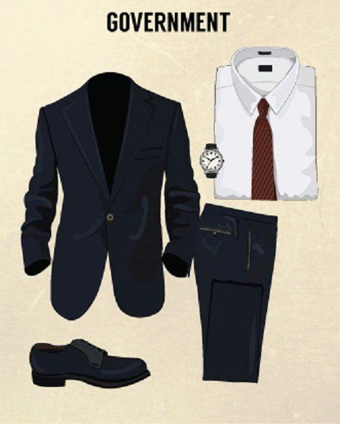 bidang hukum dan politik: pakaian serba hitam/gelap agar mengintimidasi!