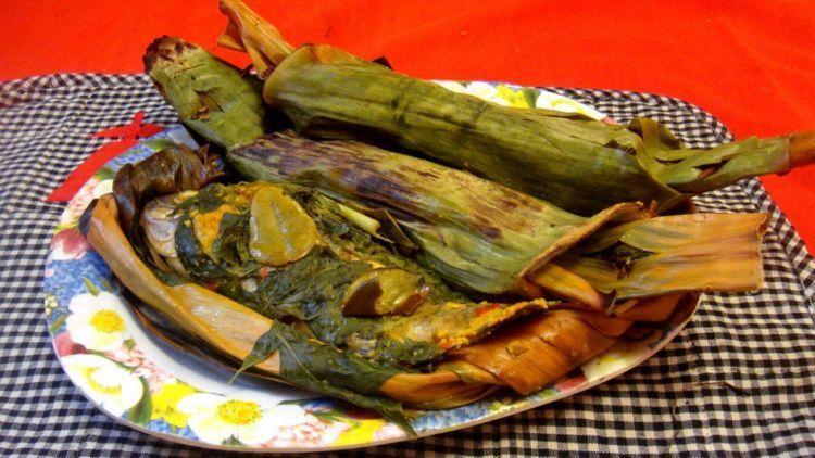pepes ikan asin daun singkong