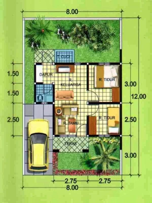 Denah-Rumah-Minimalis-1-Lantai-2-kamar-tidur-lebar-8-meter