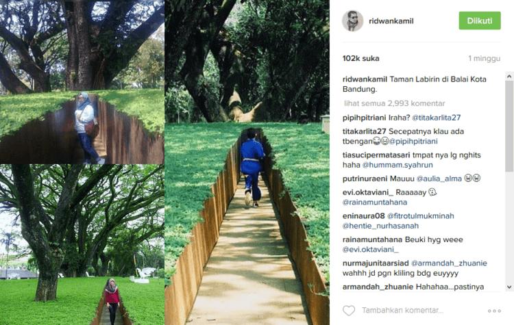 Unggahan sang Walikota di Instagram, bikin Taman Labirin Balaikota makin hits