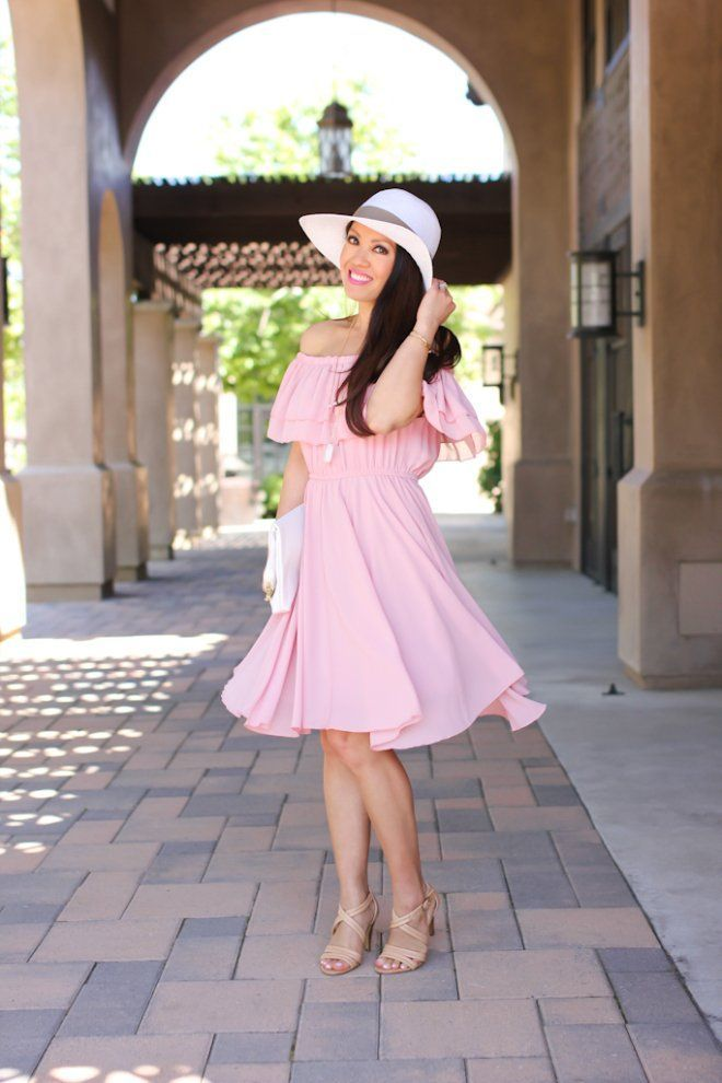 chicwish-endless-off-the-shoulder-frilling-dress-in-pastel-pink-saks-off-5th-white-floppy-hat-hm-white-clutch-isola-strappy-nude-sandals-5