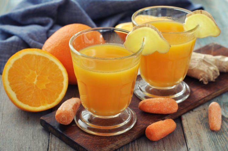Jus pepaya, wortel, dan jeruk