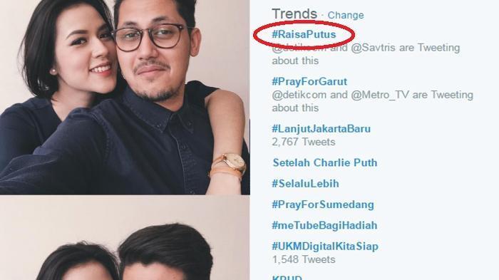 Kabar putus mereka langsung menjadi trending topic twitter.