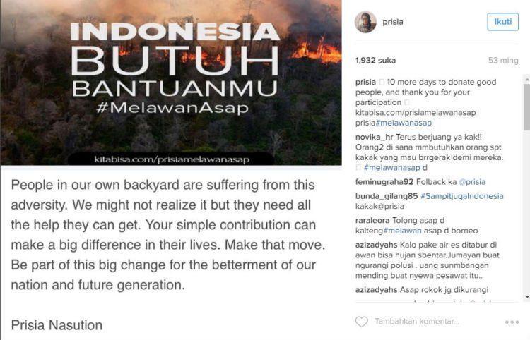 Seperti postingan dari Prisia Nasution berikut ini.