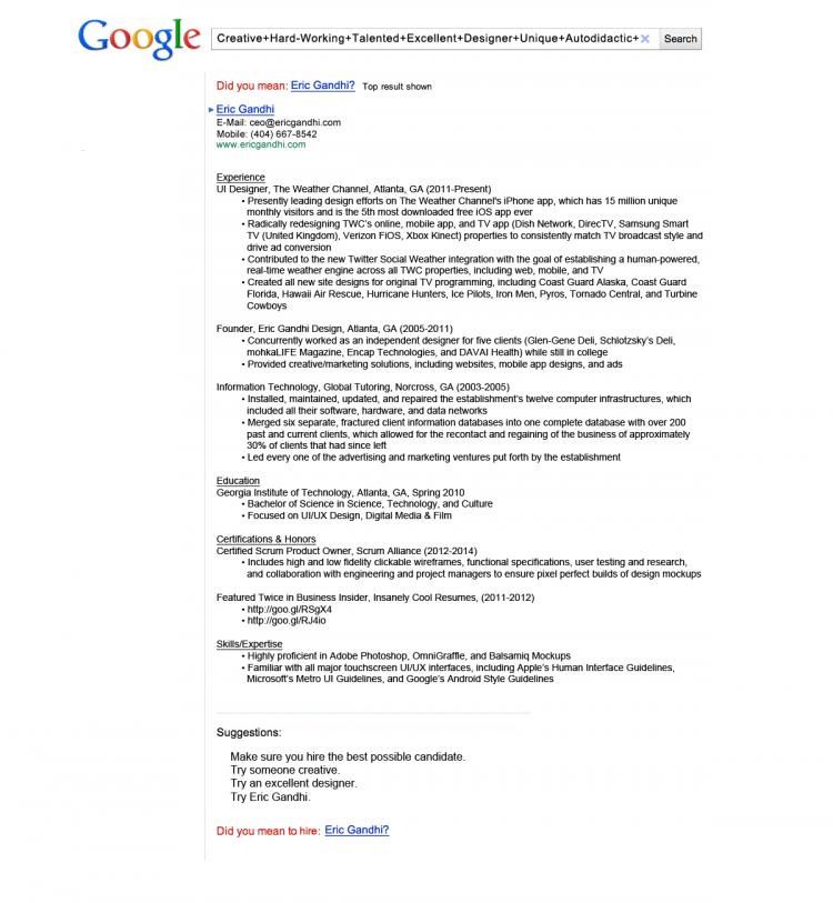 CV a la Google yang bikin Gandhi dapat tawaran bekerja di Google.