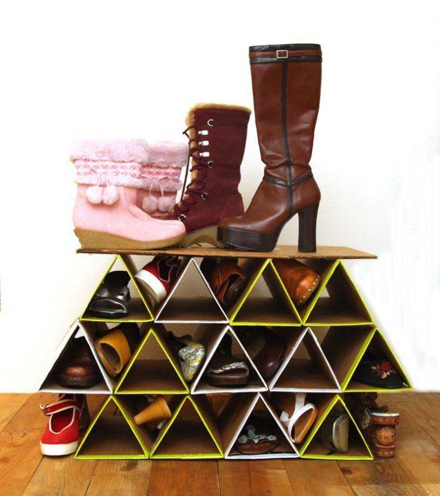 cara membuat rak sepatu dari kardus