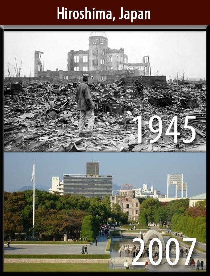 sesaat setelah dibom dan beberapa tahun setelah peristiwa itu