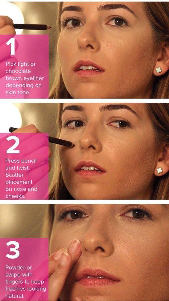 menggunakan eyeliner untuk freckles palsu