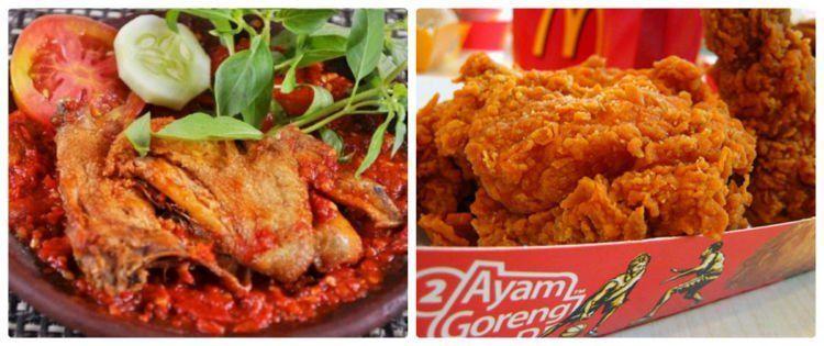 Ayam penyet (resepharian.com) vs ayam goreng a la Amerika (lifedaily.com).