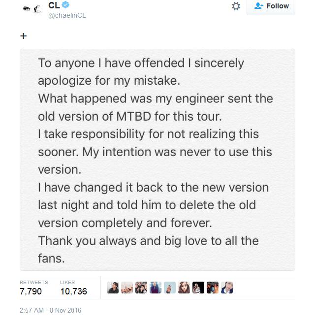 CL minta maaf lewat twitter