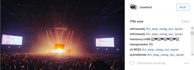 Komentar di Instagram CL dibanjiri tagar
